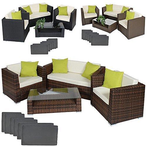 tectake hochwertige alu luxus lounge set poly rattan sitzgruppe gartenm bel mit 2 bezugsets 4. Black Bedroom Furniture Sets. Home Design Ideas