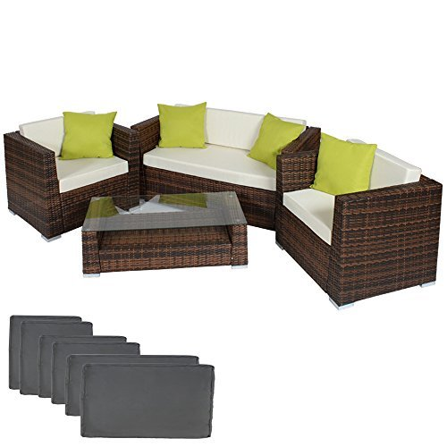 tectake hochwertige alu luxus lounge set poly rattan sitzgruppe gartenm bel mit 2 bezugsets 4. Black Bedroom Furniture Sets. Home Design Ideas