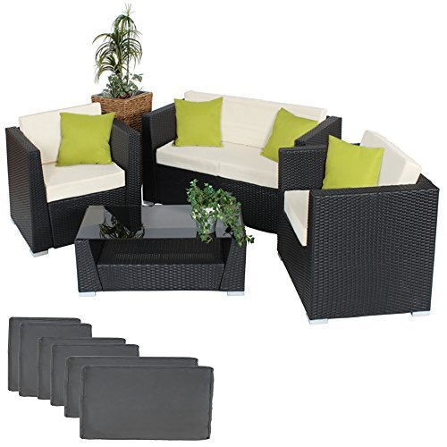 tectake hochwertige alu luxus lounge set poly rattan sitzgruppe gartenm bel mit 2 bezugsets und. Black Bedroom Furniture Sets. Home Design Ideas