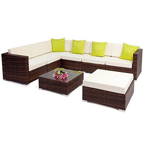 m bel24 tectake hochwertige aluminium polyrattan lounge sitzgruppe mit glastisch inkl kissen und. Black Bedroom Furniture Sets. Home Design Ideas
