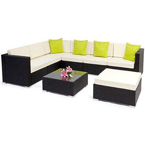 tectake hochwertige aluminium polyrattan lounge sitzgruppe. Black Bedroom Furniture Sets. Home Design Ideas