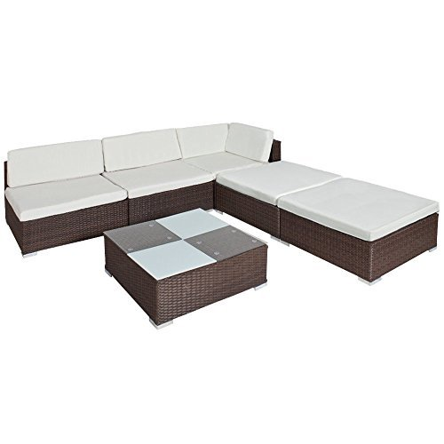 tectake hochwertige luxus lounge set poly rattan gartenm bel sitzgruppe aluminium braun m bel24. Black Bedroom Furniture Sets. Home Design Ideas