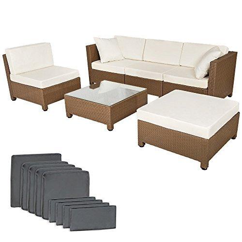 tectake hochwertige luxus lounge mit 2 bezugssets poly rattan aluminium sitzgruppe sofa. Black Bedroom Furniture Sets. Home Design Ideas