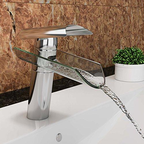 VILSTEIN© Waschtisch-Armatur Einhebelmischer Einhand Wasserhahn mit Wasserfall-Effekt Armatur für Bad Badezimmer Waschbecken, Verchromt, Glas-Auslauf, 18cm, Standard Anschluss 1/2