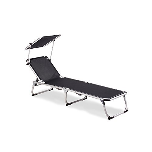 vanage gartenliege sophia in schwarz mit sonnendach. Black Bedroom Furniture Sets. Home Design Ideas