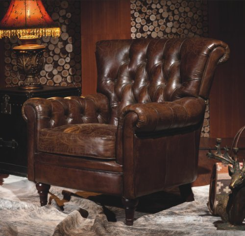 phoenixarts vintage echtleder chesterfield ledersessel braun design lounge ohrensessel leder. Black Bedroom Furniture Sets. Home Design Ideas
