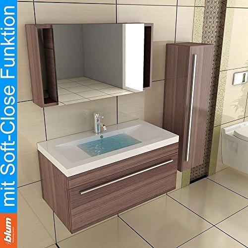 Waschplatz / Möbel für´s Bad / Waschtisch / Modell Garda-900 / Unterschrank / Badmöbel / Farbe: Walnuss / Badschrank