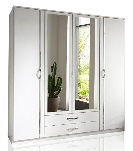 Wimex Kleiderschrank/Drehtürenschrank Duo, 4 Türen, 2 Schubladen, 2 Spiegel, (B/H/T) 180 x 198 x 58 cm, Weiß