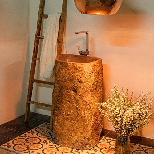 Wohnfreuden Flußstein Waschtischsäule innen poliert ca. Ø 40 cm - naturbelassen