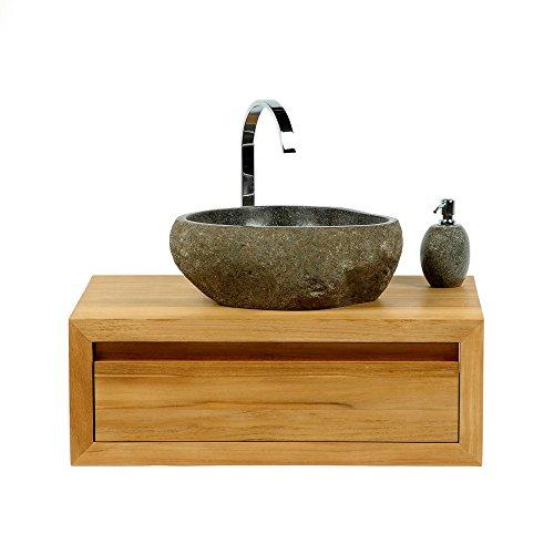 Wohnfreuden Naturstein - Waschbecken Schönes Steinwaschbecken 40 cm aus Flussstein Findling rund aussen natur ❘ Versandkostenfrei ✓