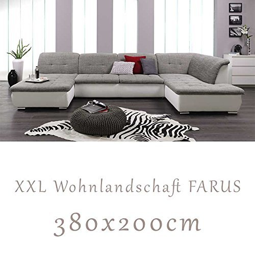 wohnlandschaft couchgarnitur xxl sofa u form weiss grau ottomane rechts m bel24. Black Bedroom Furniture Sets. Home Design Ideas