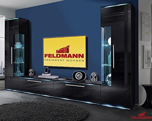 Wohnwand 823876 Anbauwand Wohnzimmer 3-teilig schwarz Hochglanz