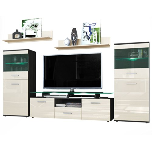 wohnwand schwarz hochglanz g nstig. Black Bedroom Furniture Sets. Home Design Ideas