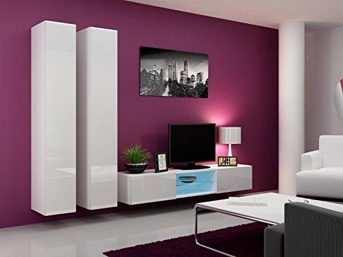 Wohnwand ' Vigo Glass III ' Glasvitrine Hängend Hochglanz Matt , Farbe:weiß matt / weiß Hochglanz