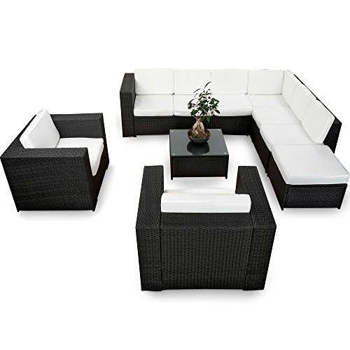 xinro xxxl 25tlg polyrattan gartenm bel lounge m bel g nstig 2x 1er lounge sessel. Black Bedroom Furniture Sets. Home Design Ideas