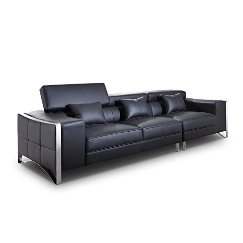 xxl big sofa gusti 4 sitzer echtleder mit kunstleder edelstahl schwarz mit hocker m bel24. Black Bedroom Furniture Sets. Home Design Ideas