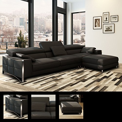 xxl big sofa gusti 4 sitzer echtleder mit kunstleder edelstahl schwarz ohne hocker m bel24. Black Bedroom Furniture Sets. Home Design Ideas