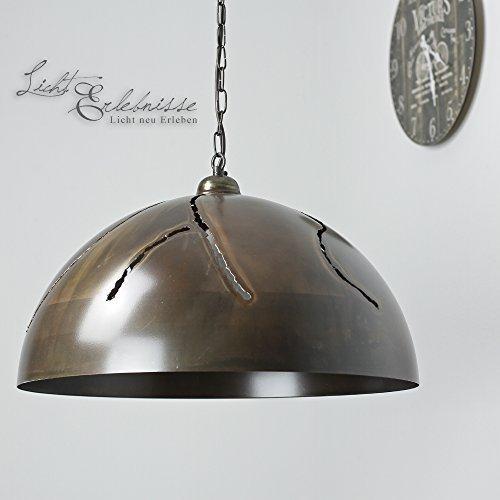 Pendelleuchte XXL / Antik Braun / Durchmesser 50 cm / Hängelampe Vintage / E27 bis 100W 230V / Industrie Lampen Retro Wohnzimmer Loft