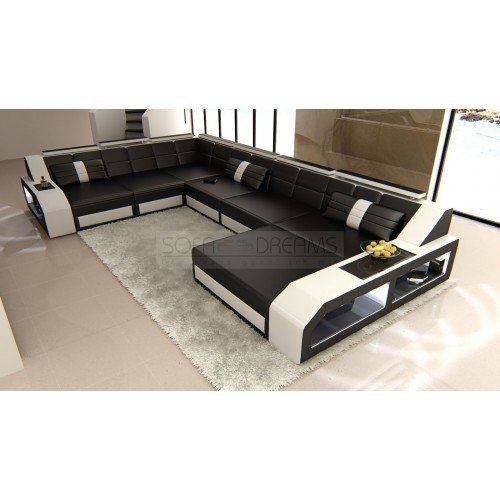 echtledersofa design wohnlandschaft matera xxl schwarz. Black Bedroom Furniture Sets. Home Design Ideas
