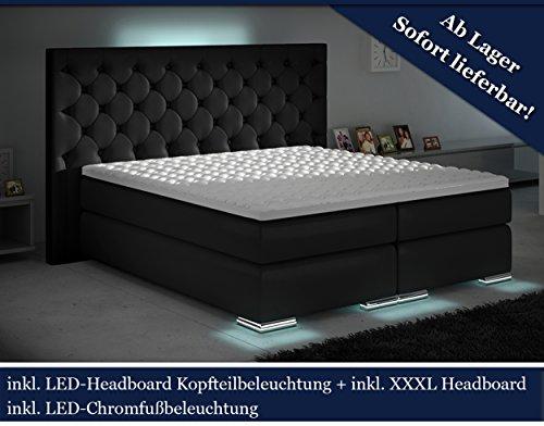 xxxl boxspringbett designer boxspring bett led schwarz. Black Bedroom Furniture Sets. Home Design Ideas