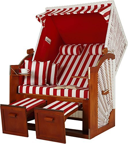 zweisitzer ostsee strandkorb modell rot gestreift pe rattan wei m bel24. Black Bedroom Furniture Sets. Home Design Ideas