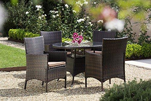 baumarkt direkt 9tlg. Gartenmöbelset Santiago, 4 Sessel, Tisch Ø100 cm, Polyrattan braun