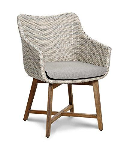 baumarkt direkt Gartenstuhl Paterna, (2er Set), Polyrattan/Teakholz, altweiß, inkl. Sitzkissen 2 Stühle, altweiß