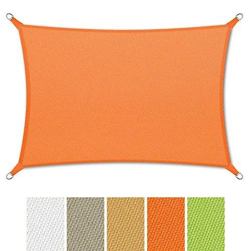 casa pura® Sonnensegel wasserabweisend imprägniert | Rechteck | Testnote 1.4 | UV Schutz | verschiedene Farben und Größen (orange, 3x5m)