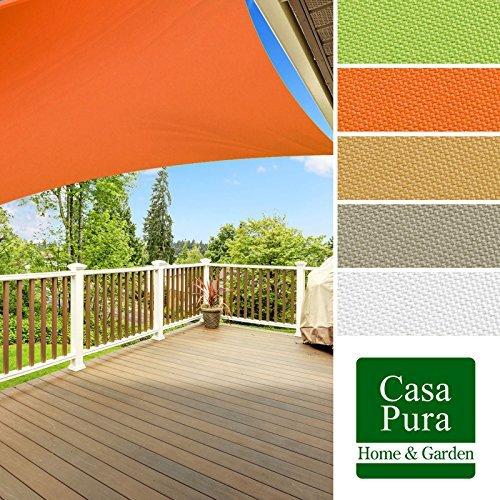 casa pura® Sonnensegel wasserabweisend imprägniert | quadratisch, 3x3m | Testnote 1.4 | UV Schutz | viele Farben (orange)