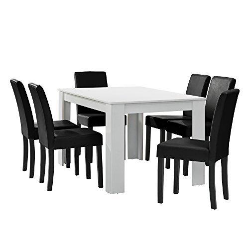 m bel24 encasa esstisch wei matt mit 6 sthlen schwarz kunstleder gepolstert 140x90 essgruppe. Black Bedroom Furniture Sets. Home Design Ideas