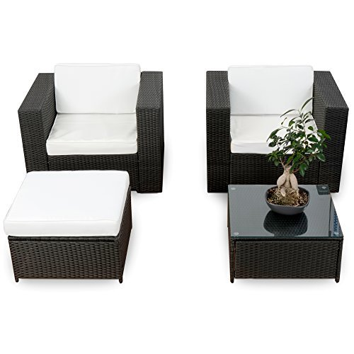 erweiterbares 10tlg balkon garten lounge set polyrattan schwarz sitzgruppe garnitur gartenmbel. Black Bedroom Furniture Sets. Home Design Ideas