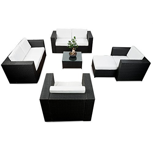 erweiterbares 20tlg polyrattan gartenm bel xxxl lounge sofa set schwarz sitzgruppe garnitur. Black Bedroom Furniture Sets. Home Design Ideas