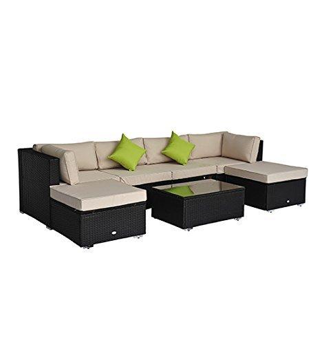 outsunny luxus alu polyrattan gartenm bel loungeset sitzgruppe gartenset 21 tlg inkl kissen. Black Bedroom Furniture Sets. Home Design Ideas