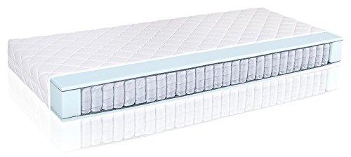 Matratzen Perfekt 20 cm hohe orthopädische 7-Zonen Tonnentaschenfederkernmatratze Köln Bezug waschbar, 60°C (90 x 200 cm, H4)