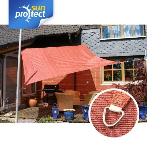 sunprotect Sonnensegel professional, 3 x 3 m, Quadrat, rostrot (1 Stück)