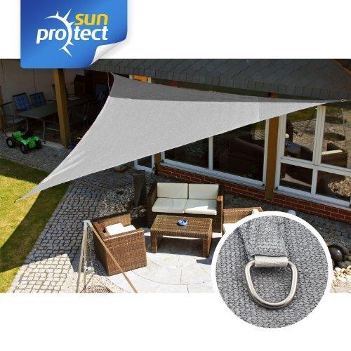 sunprotect SPT83227 Sonnensegel professional, 5 x 5 x 5 m, Dreieck, grausilber (1 Stück)