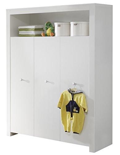 Trendteam 1553-613-01 Babyzimmer Kleiderschrank, Schrank Olivia, 130 x 186 x 54 cm in Weiß mit viel Stauraum