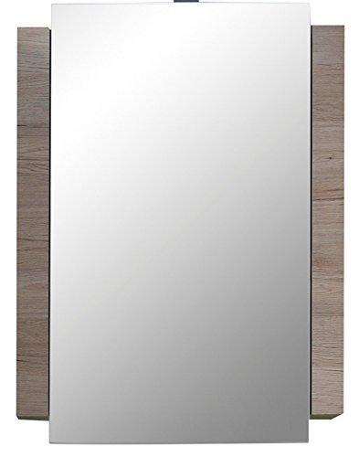 Trendteam 1316-503-91 Badezimmer Spiegelschrank Spiegel Campus, 60 x 80 x 15 cm in Weiß, Eiche San Remo Dekor mit viel Stauraum