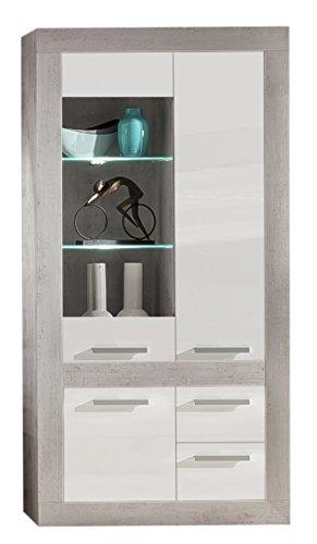trendteam Wohnzimmer Vitrine Schrank Wohnzimmerschrank Pure, 100 x 201 x 38 cm in Korpus Beton Stone Dekor, Front Weiß Hochglanz mit LED Glasbodenbeleuchtung in Kalt- Weiß