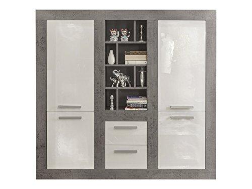 trendteam Wohnzimmer Highboard Schrank Pure, 170 x 164 x 40 cm in Korpus Beton Stone Dekor, Front Weiß Hochglanz mit viel Stauraum