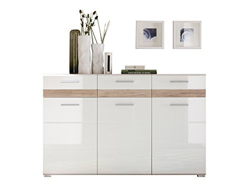 trendteam so kommode sideboard eiche san remo hell wei hochglanz 136 x 87 cm m bel24. Black Bedroom Furniture Sets. Home Design Ideas