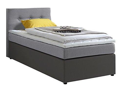 atlantic home collection rudi boxspringbett stoff liegefl che 90 x 200 cm grau m bel24. Black Bedroom Furniture Sets. Home Design Ideas