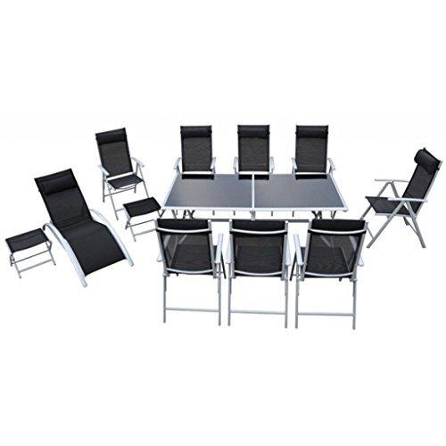 vidaxl sitzgruppe alu 21 tlg essgruppe gartenliege. Black Bedroom Furniture Sets. Home Design Ideas