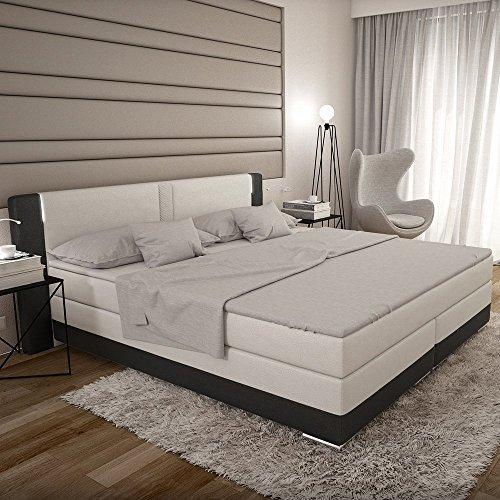 bargo boxspringbett 180x200 cm wei schwarzes polster. Black Bedroom Furniture Sets. Home Design Ideas