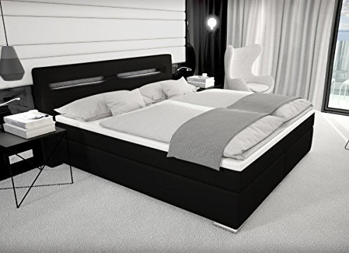 m bel24 m bel g nstig designer boxspring bett paris mit bettkasten led beleuchtung 180x200. Black Bedroom Furniture Sets. Home Design Ideas