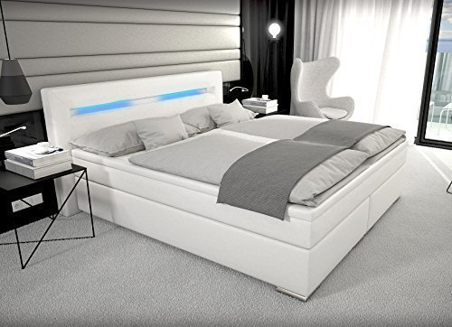 designer boxspring bett mit led beleuchtung 180x200 cm farbe weiss mit. Black Bedroom Furniture Sets. Home Design Ideas