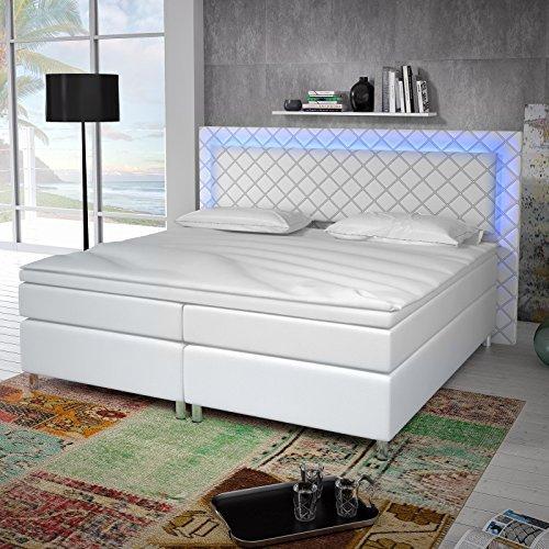 designer boxspringbett tokyo led licht wei 160 x 200 m bel24. Black Bedroom Furniture Sets. Home Design Ideas