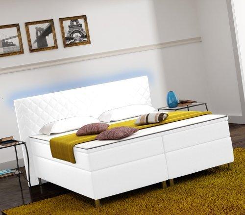 m bel24 designer lederlook boxspringbett mit led. Black Bedroom Furniture Sets. Home Design Ideas