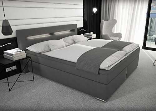 m bel24 m bel g nstig designer stoff boxspring bett mit led beleuchtung 180x200 cm farbe grau. Black Bedroom Furniture Sets. Home Design Ideas