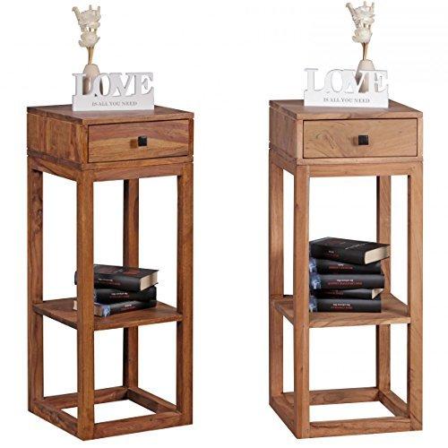 Massiver Beistelltisch PATAN Sheesham Holz Massiv 90 x 35 x 35 cm | Telefontisch mit Schublade für Flur Anrichte | Moderne Konsole mit Ablage